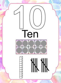 Watercolor 0-10 Number Posters with Tally Marks & Ten Frames