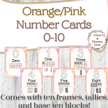 Pink/Orange 0-10 Number Posters with Tally Marks & Ten Frames