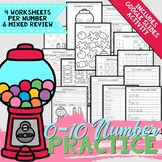 0-10 Number Practice Worksheets