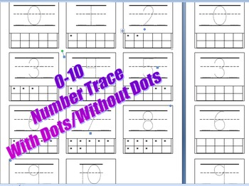 0-10 Number Trace with Ten Frames