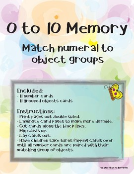 0-10 Number and Object Groups Memory