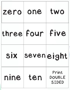 0-10 Numbers and Number Words Memory