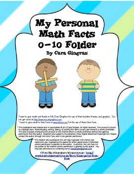 Interactive 0-10 Personal Fact Folders/Center - Common Core