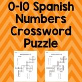0-10 Spanish Numbers Crossword Puzzle