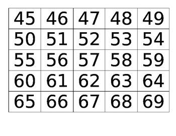 0-100 Number Cards