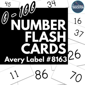 "0-100 Number Flash Cards: Print on Avery Label #8163 (2""x 4"")"