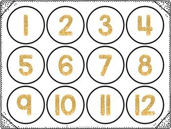 Number Labels Gold 0-100
