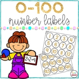 Number Labels Gold 0-100