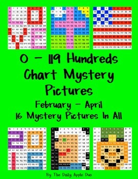 0-119 Hundreds Chart Mystery Pictures: February/March/April