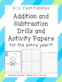 0-12 Fact Families Addition & Subtraction Speed Drills and Activity Sheets