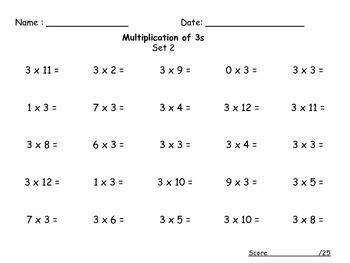 Multiplication Timed Tests Set 2 (0-12)