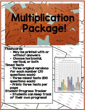 0 - 12 Multiplication Facts Package - Flashcards, Timed Tests, Progress Tracker