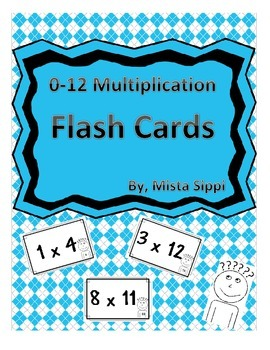 0-12 Multiplication Flash Cards for Studying with Answers