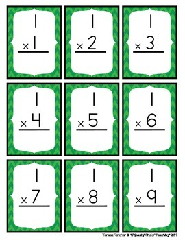 0-12 Multiplication Flash Cards {double sided & color coded}