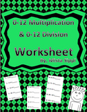 0-12 Multiplication and Division Practice Worksheet