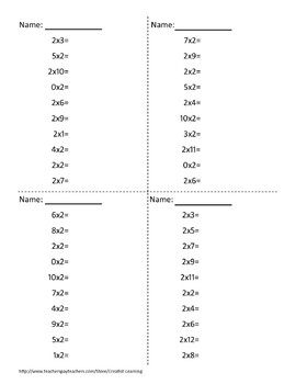 0-12 Times Tables Multiplication Practice Worksheets