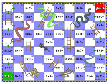 0 12 times tables snakes and ladders game bundle by our classroom - Free online times tables games ...