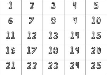0-120 NUMBER CARDS