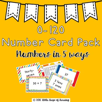 0-120 Number Cards in 5 Representations