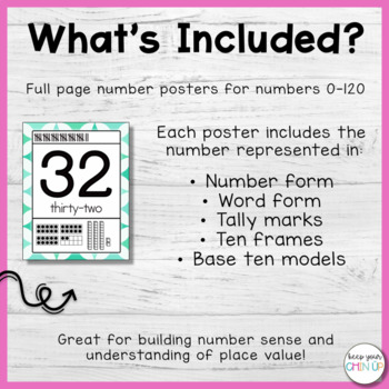 Rainbow Number Posters 0-120