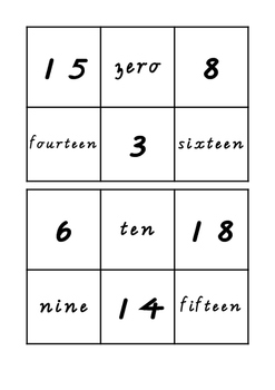 0-20 Bingo Cards