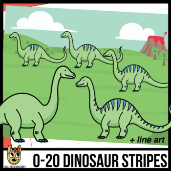 0-20 Brontosaurus Dinosaur Stripes