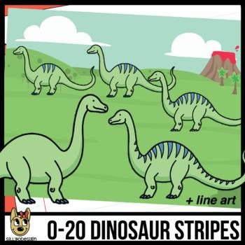 0-20 Brontosaurus Dinosaur Stripes Clip Art