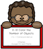 0-20 Color the Number of Objects - 1 to 1 Correspondence Worksheets