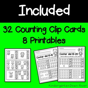 0-20 Counting Clip Cards & Printables {Spanish} Representar Números {TEKS/CCSS}