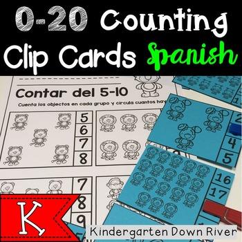 0-20 Counting Clip Cards & Printables {Spanish} Representar Números {TEKS/CCSS}