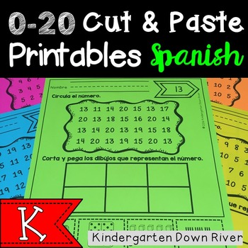 0-20 Cut and Paste Number Printables {Spanish} Representar Números {TEKS/CCSS}