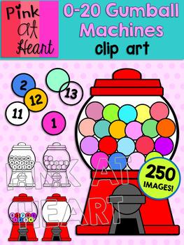 0-20 Gumball Machines Clip Art