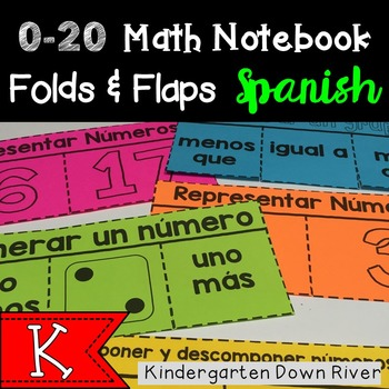 0-20 Math Notebook Folds and Flaps {Spanish} Representar N