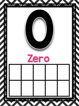 0-20 Number Posters-Black and White Chevron