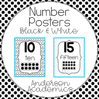 0-20 Ten Frame Number Posters - Black and White Theme