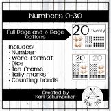 0-30 Number Posters - Blue Denim