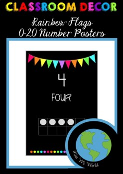 0-20 Number Posters - Rainbow Flags