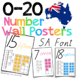 0-20 Number Posters for Australia in SA Font