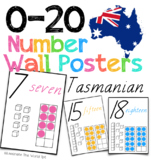 0-20 Number Posters for Australia in Tasmanian Font
