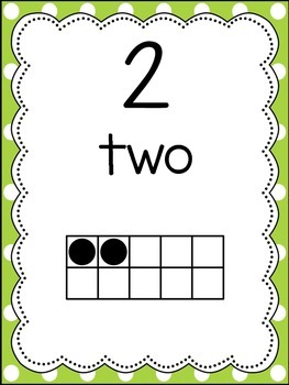 0-20 Number Posters (lime & yellow polka dots)