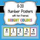 0-20 Number Posters with Ten Frames -- Bright Colors