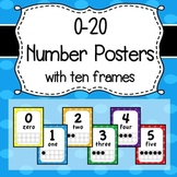 0-20 Number Posters with Ten Frames - Primary Color