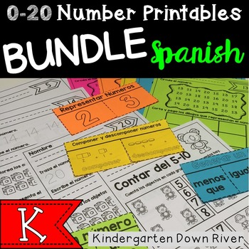 0-20 Number Printables BUNDLE {Spanish} Representar Número