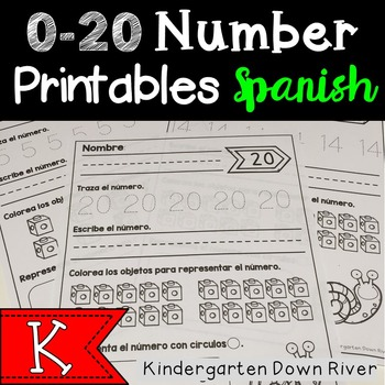 0-20 Number Printables {Spanish} Representar Números {TEKS/CCSS}