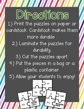 0-20 Number Puzzles {Freebie}