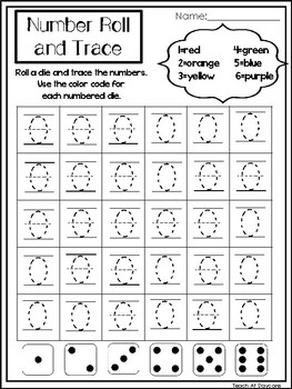 0-20 Number Roll and Trace Printable Worksheets. Preschool-Kindergarten Numbers.