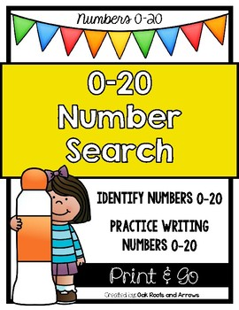 0-20 Number Search, Tracing and Writing