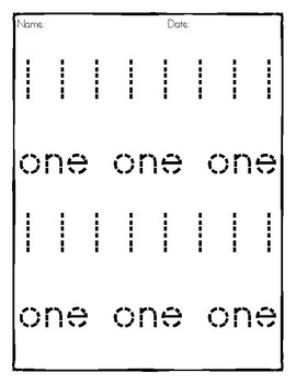 0-20 Number Tracing Practice