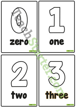 0-20 Number and Word Posters – Black and White
