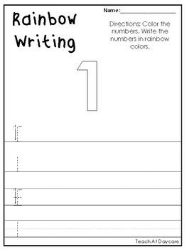 0-20 Rainbow Write the Numbers Printable Worksheets. Preschool-KDG Numbers.